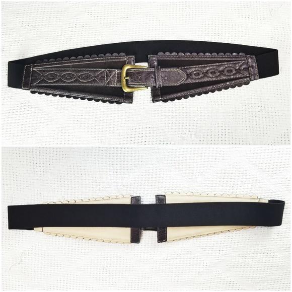 Randolph Duke Accessories - PLUS Leatherette Buckle Wide Stretch Elastic Belt